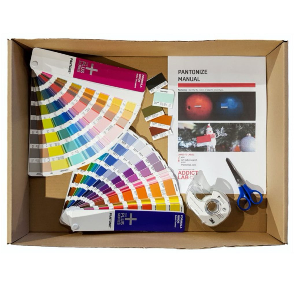 Pantonize game kit with Pantone palettes scissor and scotch tape by Addictlab Academy